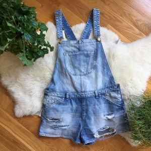 Zara Trafaluc Premium Wash Distressed Shortalls
